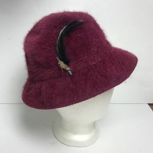 Kangol Bucket Hat Fuzzy Angora w/ Feather Maroon